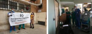 Cristina de Santisteban en el Hospital 12 de Octubre, de Madrid, al entregar los respiradores.